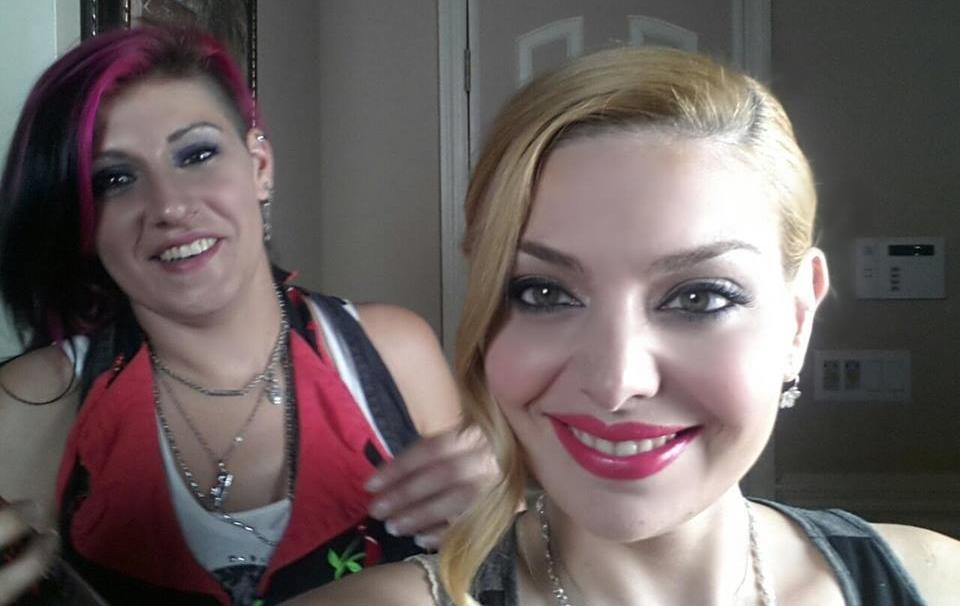 Hair Stylist Jody Trawinski and Actress Janet Miranda taking a selfie.