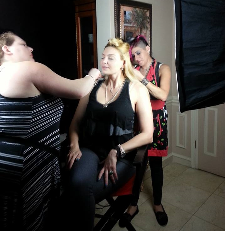 Makeup Artist Sara Ritmiller and Hair Stylist Jody Trawinski working on Actress Janet Miranda.