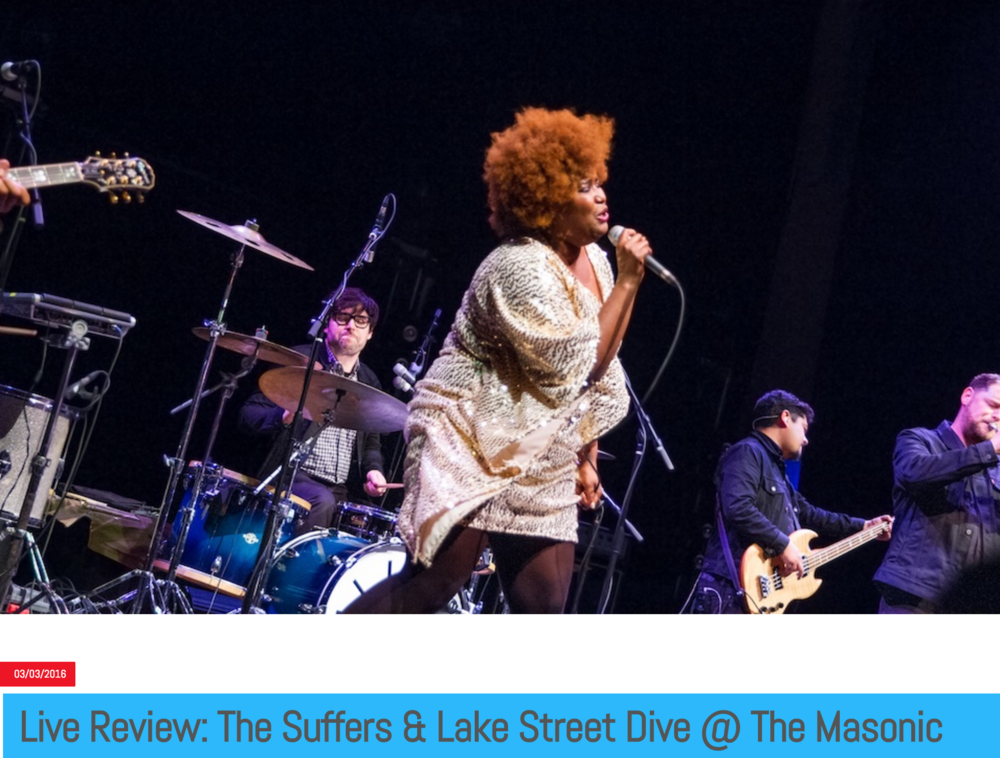 SF CRITIC - THE SUFFERS - February 27, 2016http://www.sfcritic.com/2016/03/03/live-review-the-suffers-lake-street-dive-the-masonic/26986* Photos by Joe Keefe & Dace Hines