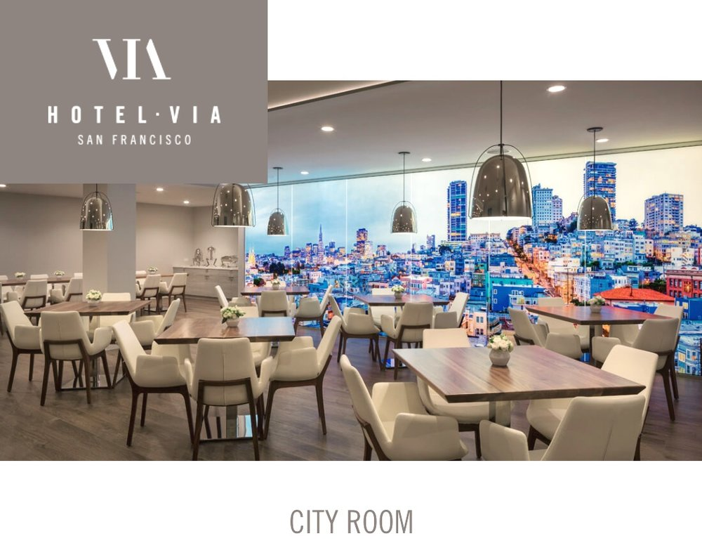 """HOTEL VIA, SF - * Expansive, Iconic SF mural in the """"City Room""""Opened 2018https://www.hotelviasf.com/"""