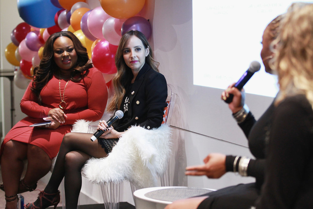 Denise Caldwell, left, and Lilliana Vazquez speak onstage at the Simply Stylist New York Fashion and Beauty Conference at YOTEL on Saturday, Nov. 5, 2016, in New York City. (Photo by Soul Brother)