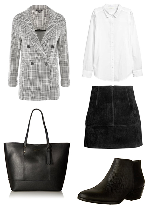 Topshop  blazer  | H&M  shirt  and  skirt  | Cole Haan  tote  | Sam Edelman  boots