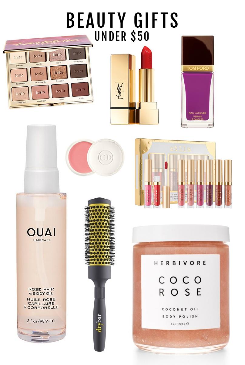 Tarte  eyeshadow palette  | Yves Saint Laurent  lipstick  | Tom Ford  nail polish  Ouai  hair and body oil  | Christian Dior  lip balm  | Stila  liquid lipstick set  Drybar  brush  | Herbivore  body polish