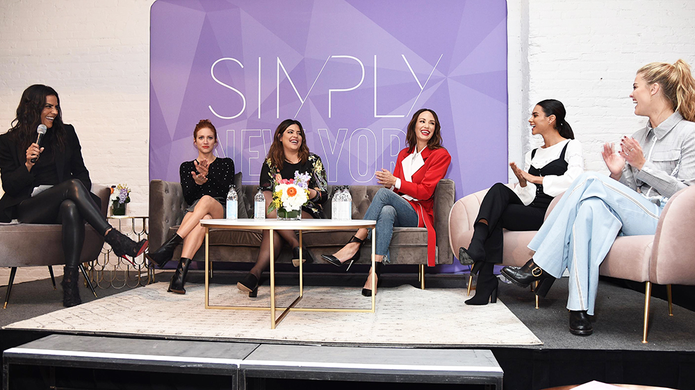 "Moderator  Elsa Collins  with panelists  Brittany Snow ,  Denise Bidot ,  Catt Sadler ,  Sophia Miacova , and  Nina Agdal  during our ""Change The World"" panel"