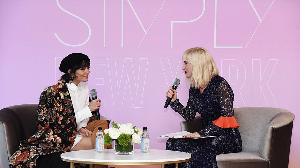 Vanessa Hudgens  and moderator  Gabrielle Korn , Editor-In-Chief of  NYLON