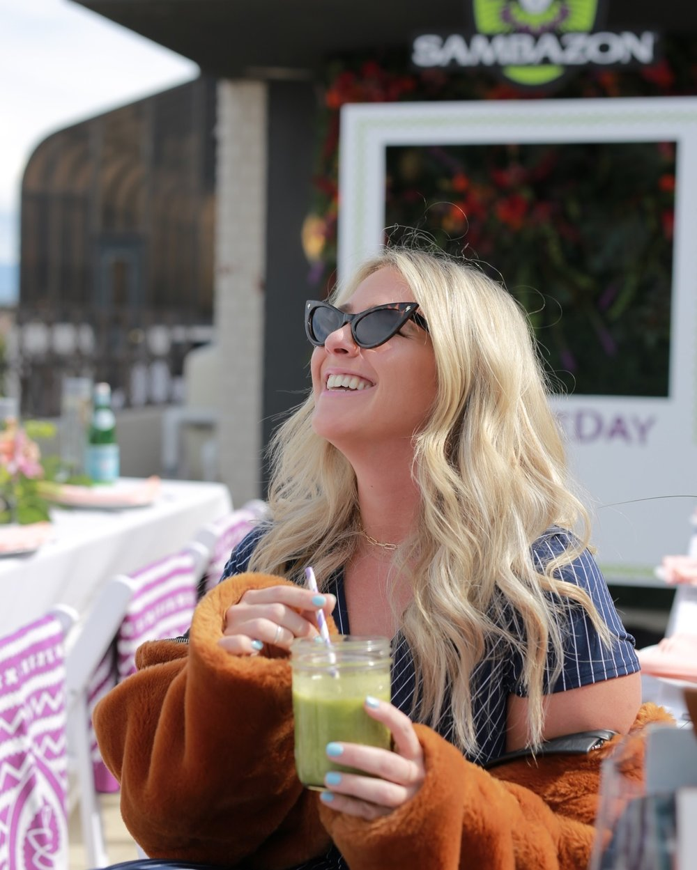 Fitty Britty enjoying a Sambazon smoothie!
