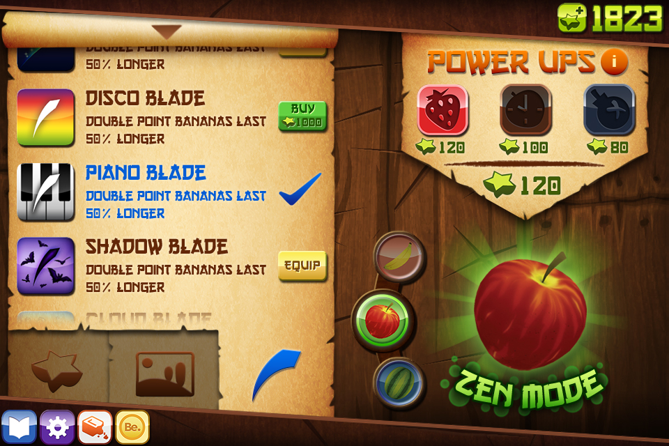 Fruit Ninja Menu