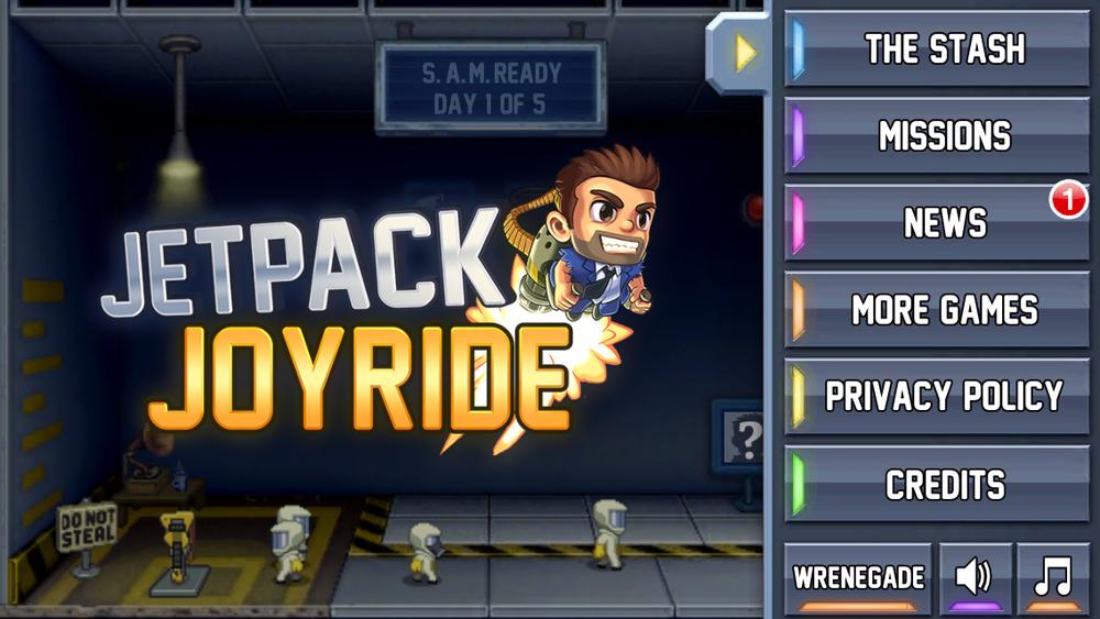 Jetpack Joyride Main Menu