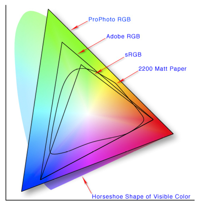 These are examples of device independent color spaces (and a device dependent color space for a printer). Note the relative sizes of the color spaces. A value of 255 green in ProPhoto RGB (the upper corner of the ProPhoto triangle) is a much more intense color than 255 green in Adobe RGB and sRGB. This means images that use the ProPhoto color space can represent more intense colors. Whether or not a monitor can display those colors is a different story. (Image: Wikipedia)