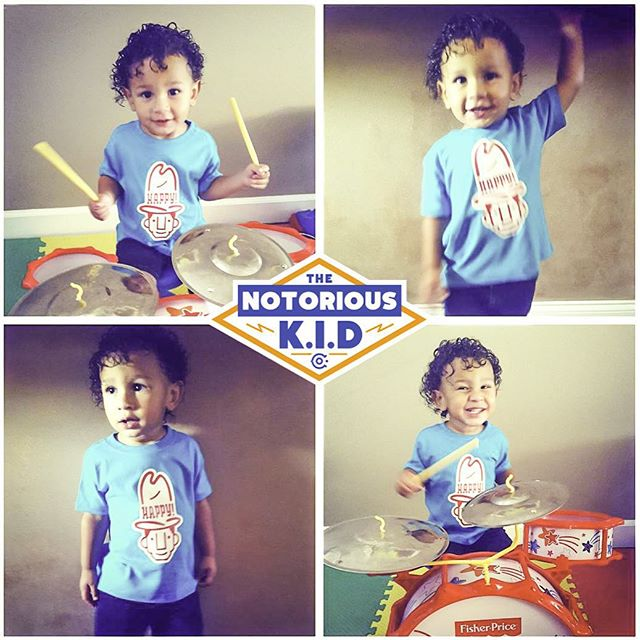 Special shout out to the Barton family for sharing these pics of young Braxton, their notoriously cute little drummer boy, rocking out in his new Happy! shirt.