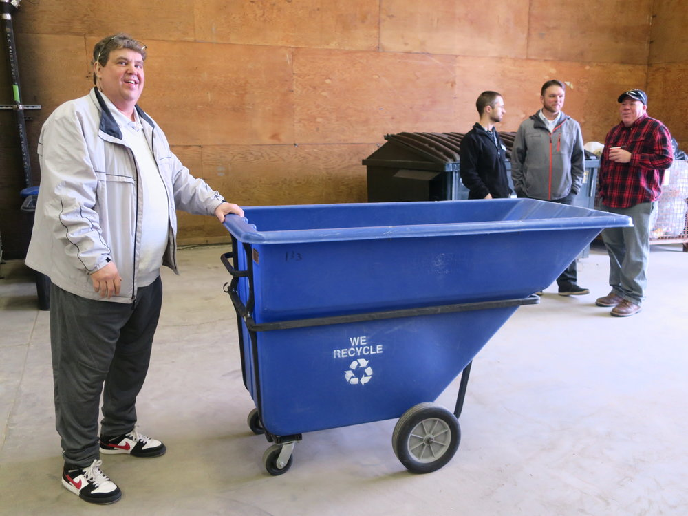 Allan Lamprey, our new Green Collar Jobs Program Manager, at the new facility. Stacy Strubinger, in the background in the gray jacket, managed the Recycling Center and Green Collar Jobs program for years at the Mission.