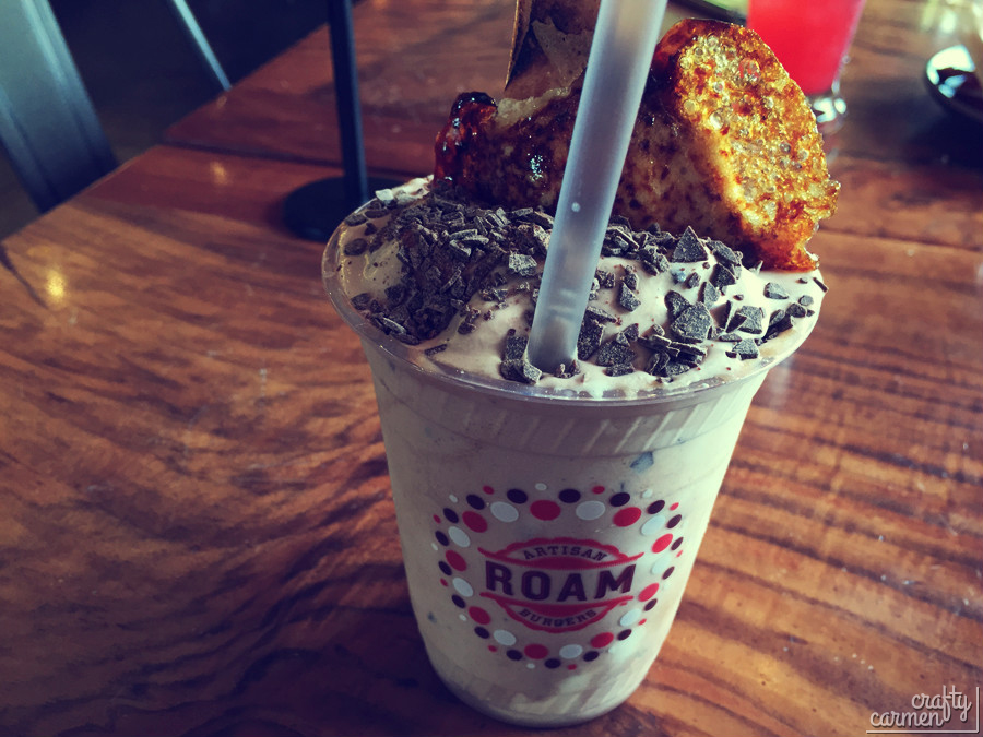 Roam Burgers' Hazelnut Chocolate Shake Topped with Brûléed Marshmallow | craftycarmen