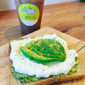 ICED BANANA MOCHA + PESTO-RICOTTA OPEN FACE TOAST - Impresso • Los Angeles, CA