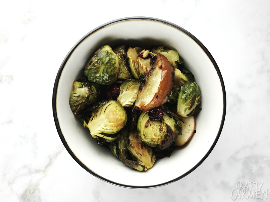 Roasted Pear and Cranberry Brussels Sprouts — Recipe from The Seasoned Life by Ayesha Curry | craftycarmen