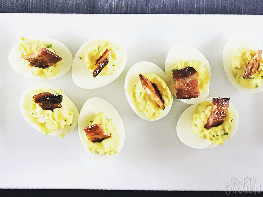 Deviled Eggs with Brown Sugar Bacon— Recipe from The Seasoned Life by Ayesha Curry | craftycarmen