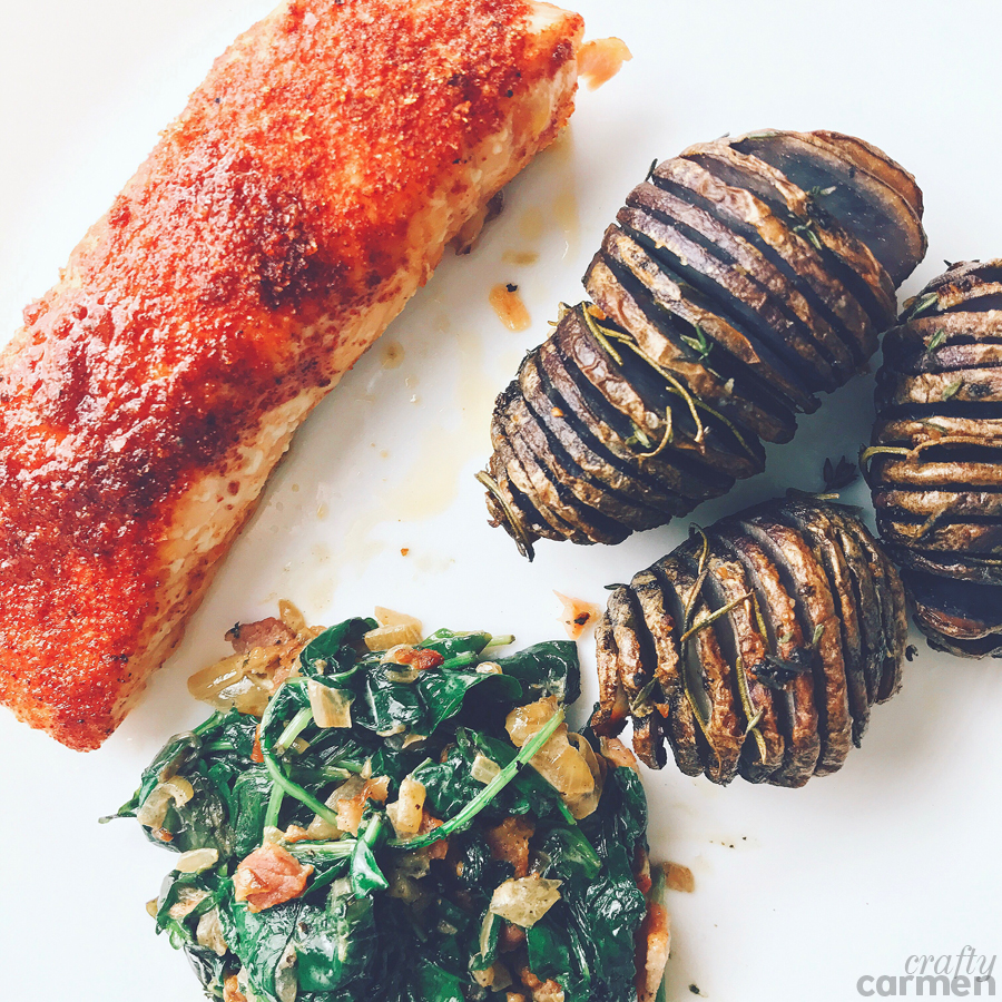 Homemade by Ayesha Curry — Week 2: Smoky Rubbed Salmon with Creamy Kale and Purple Hasselback Potatoes | craftycarmen