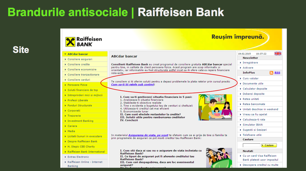 Raiffeisen, the antisocial brand