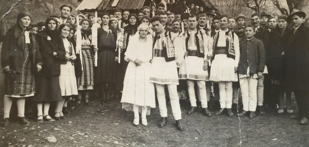 Aneta and Niculae Gavril Dragusanu (Secu village)- on their wedding day (late 1920's) wearing their Romanian national folk costumes