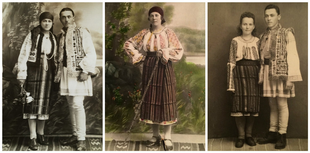 1. Maria and Ilie Bodaproste (Valea Seaca village)- my grandparents on their wedding day (May 18, 1929) wearing their hand-made folk costumes (Valea Seaca village, Neamt region); 2.My dearest grandmother, Maria Bodaproste. The picture was taken in late 1920's in L.Hersovici photo studio (Tg.Neamt); 3.My aunt, Victoria Bodaproste & Victor Bendrea on their wedding day (1949).