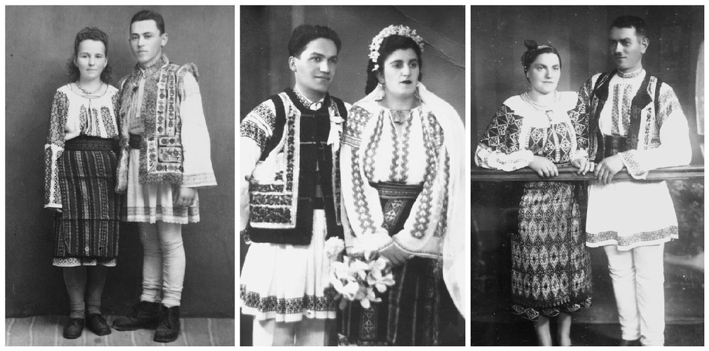 1.My uncle, Ioan Bodaproste (Badia Jenica) with one of his sweethearts (late '40). 2-3. Relatives in Piatra-Neamt area wearing the Romanian national folk costumes.