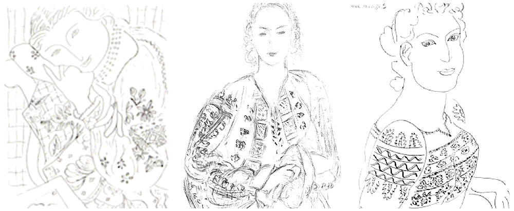 """1-3. Sketches done by Matisse. The second (middle) sketch called """"Femme à la blouse roumaine"""" (1943) was drawn in Vence was sold by Christie's in 2011 to a private collector for $191,951."""