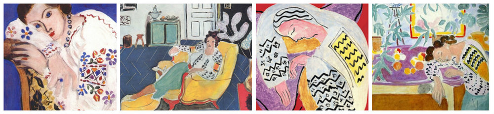 1. Peasant blouse (1936); 2. Young girl with yellow sofa (1940); 4. The Dream (1940); 4. Still life with sleeper (1940)