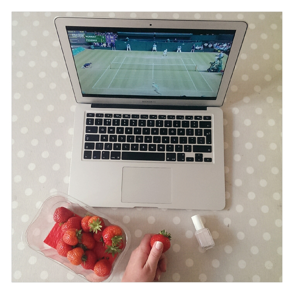 wimbledon watching with strawberries - rubelle