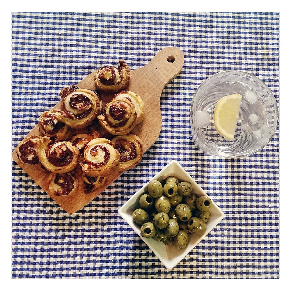 cheese straws, olives and gin, rubelle
