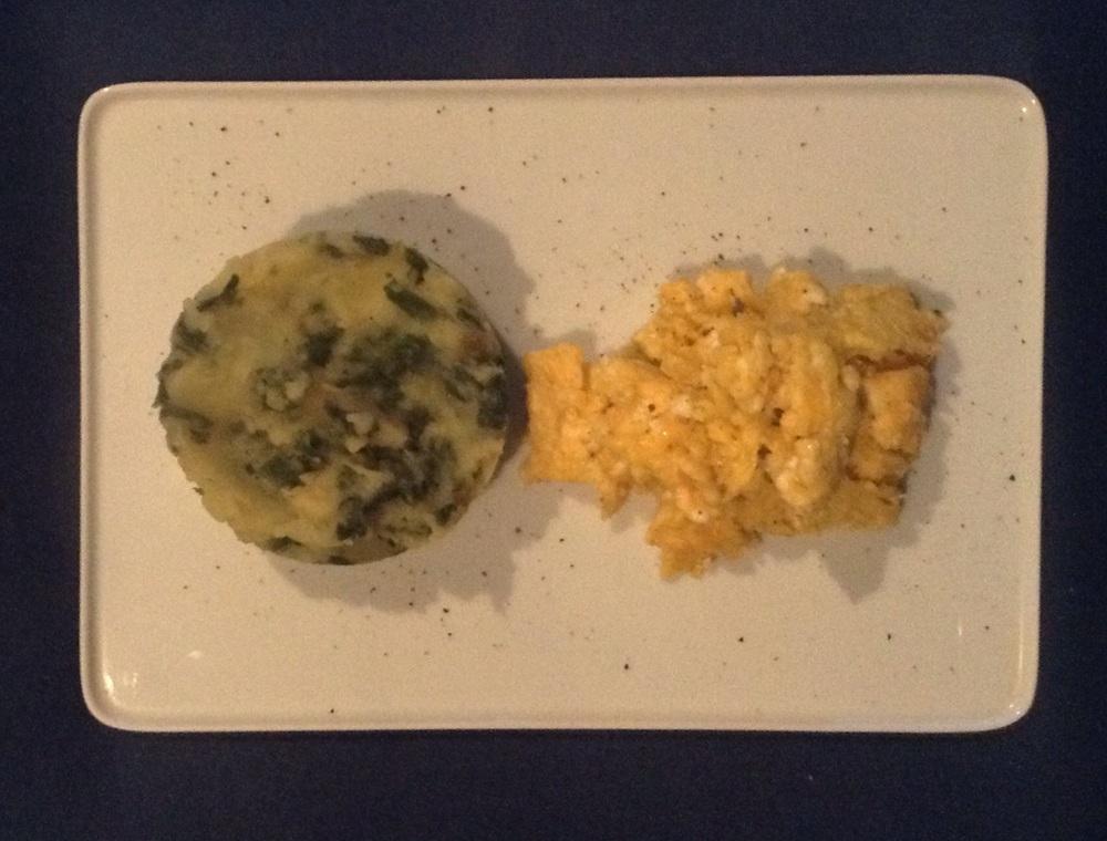 Ashitaba mashed potatoes and scrambled eggs