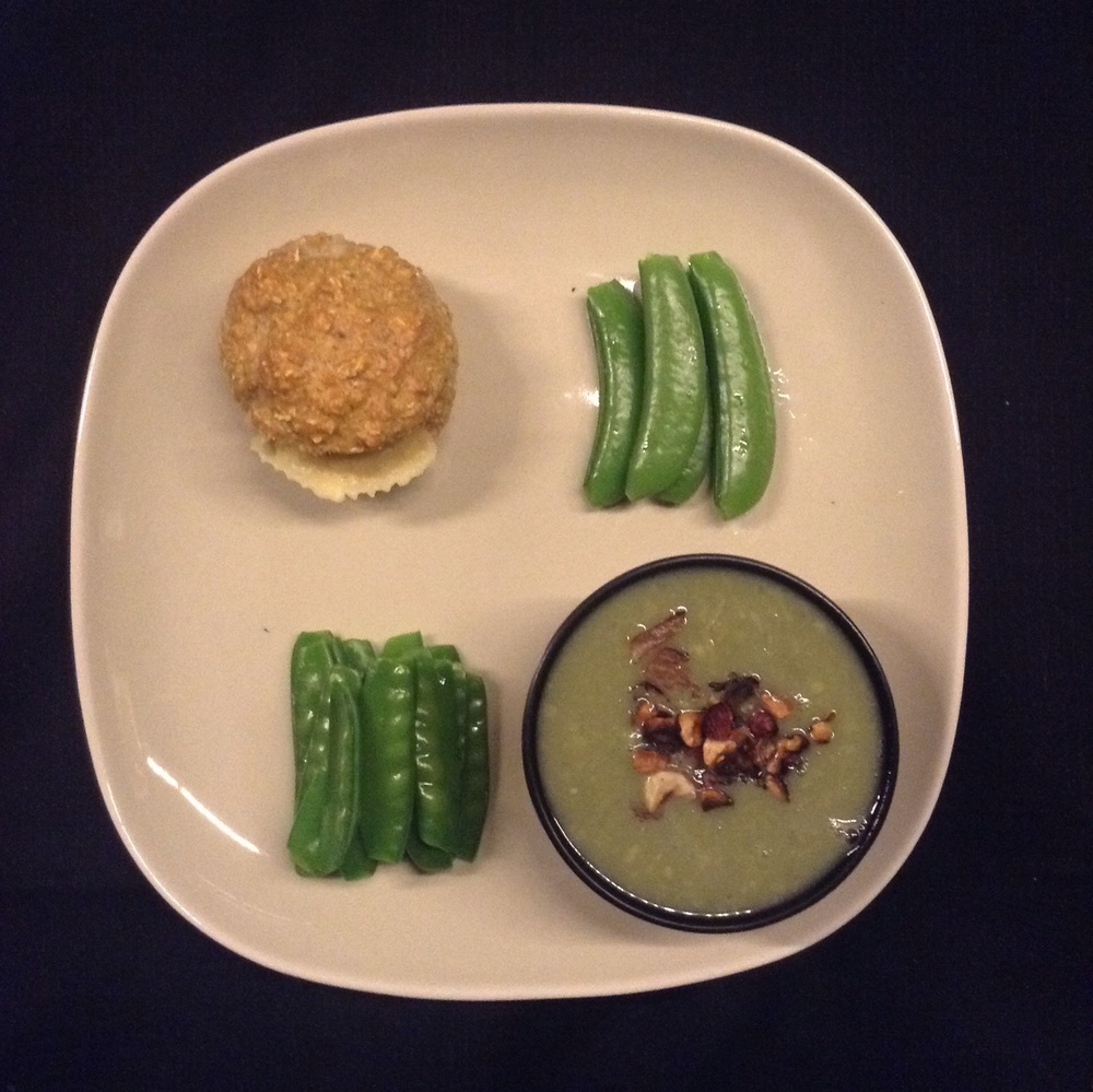 Oat bran muffins, snap peas and horse bean soup with grilled hazelnuts