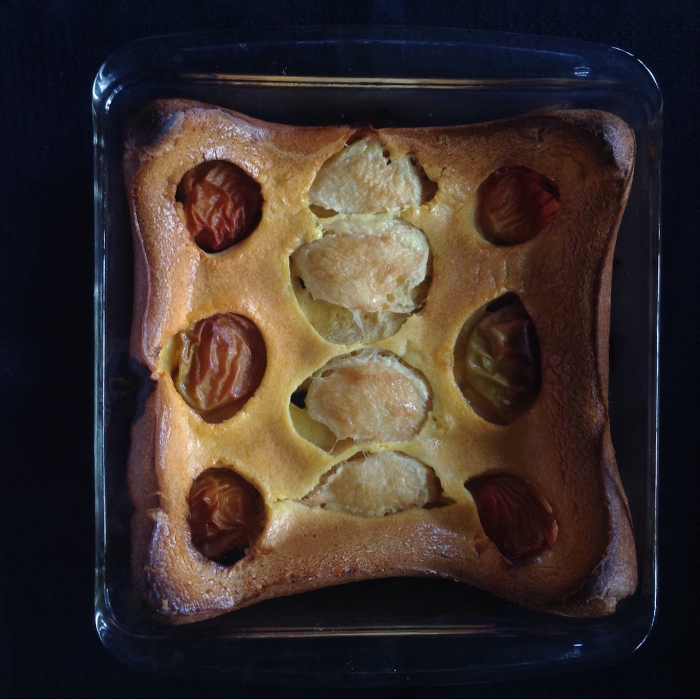 Plum and peaches clafouti for breakfast