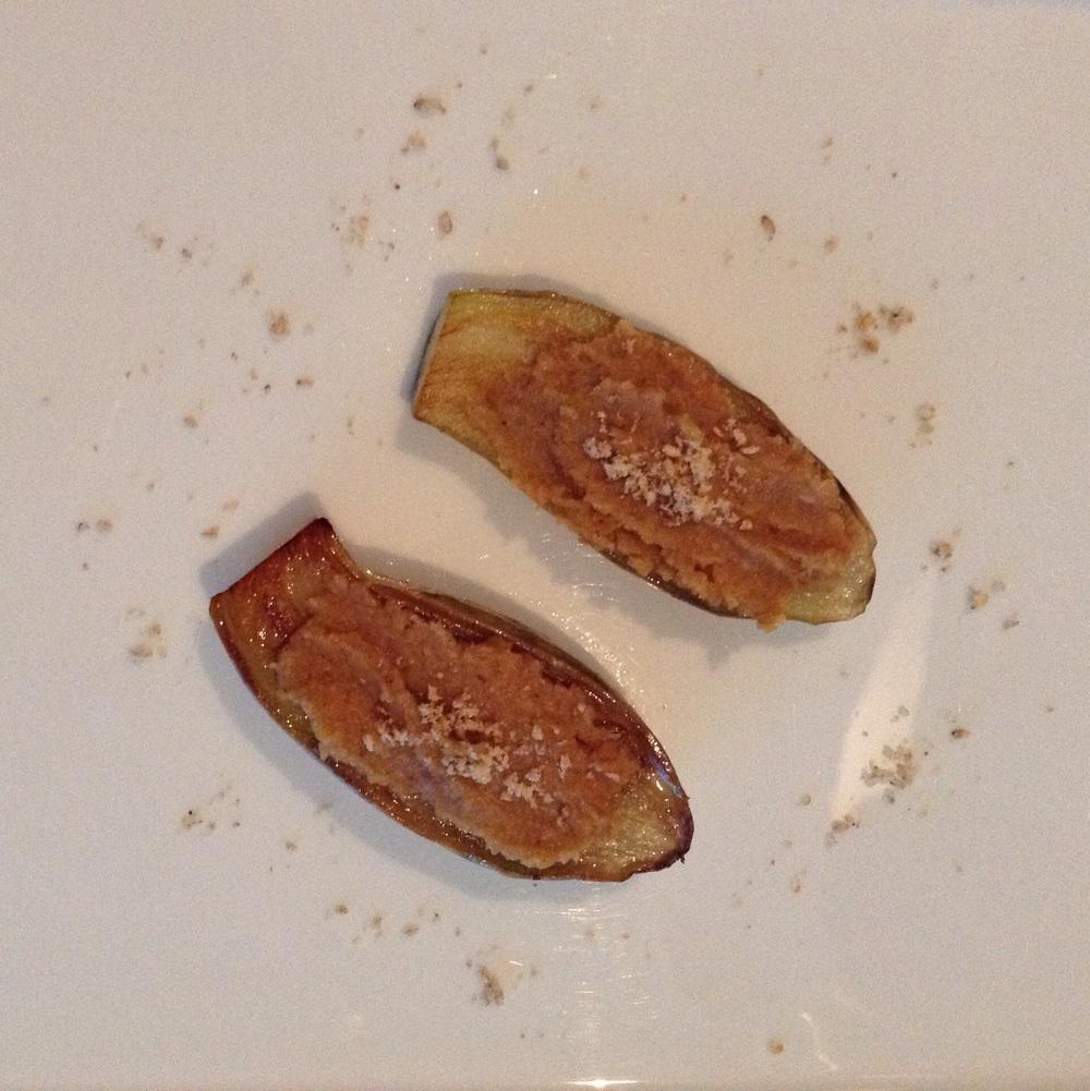 White eggplants with miso
