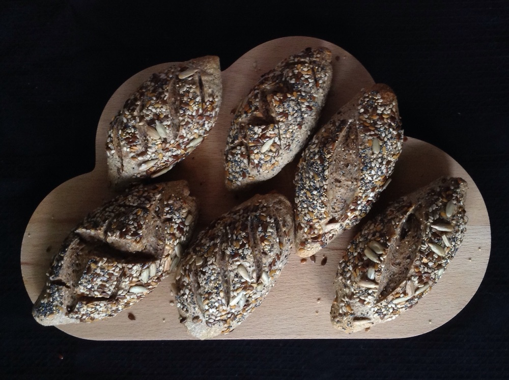 Multi grain and whole wheat little bread made for breakfast