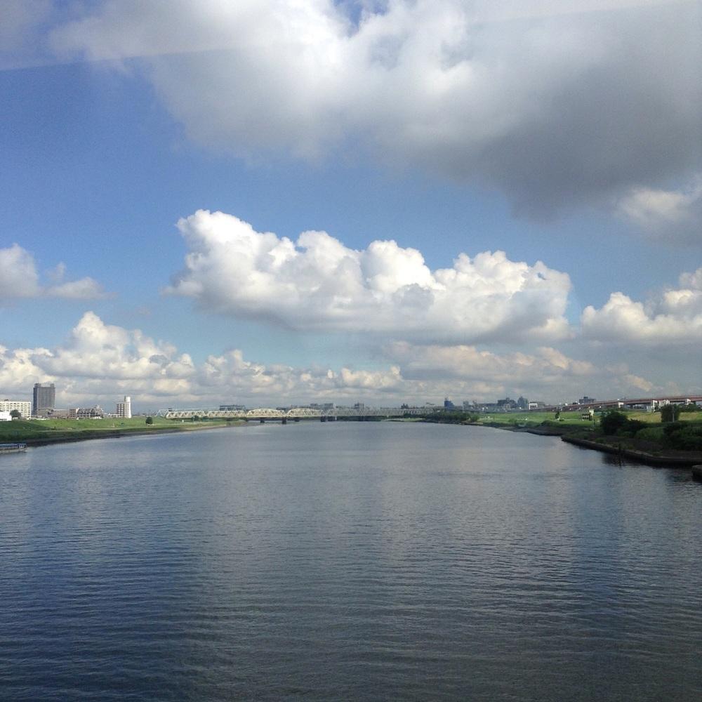 Arakawa river from the train to Narita airport
