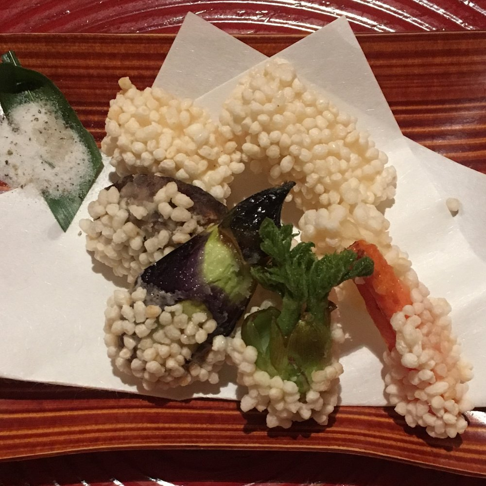 Mochi rice fried seasonal vegetables
