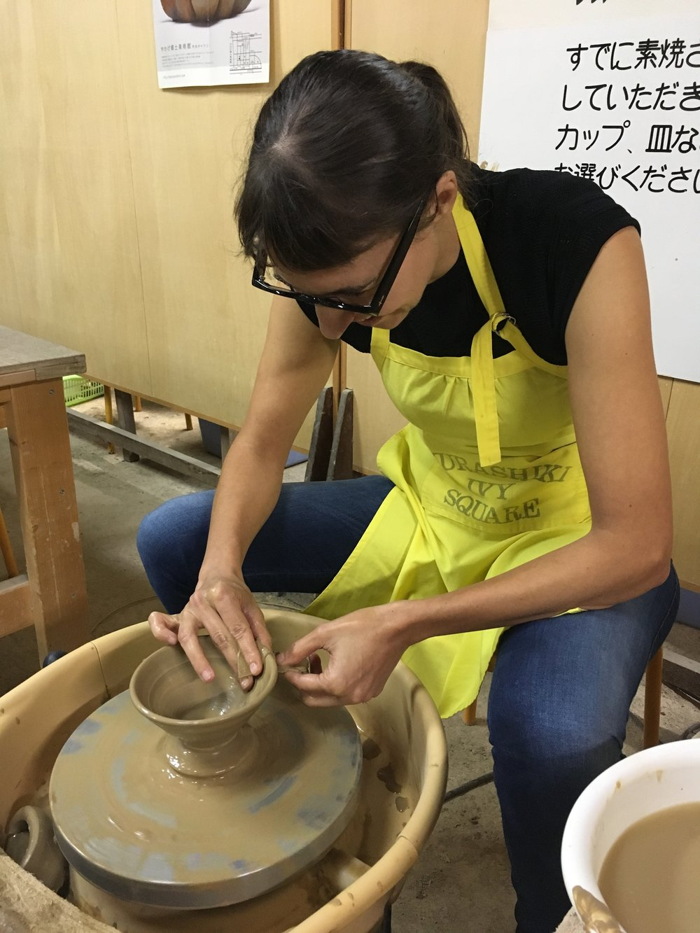 At work on the potter's wheel