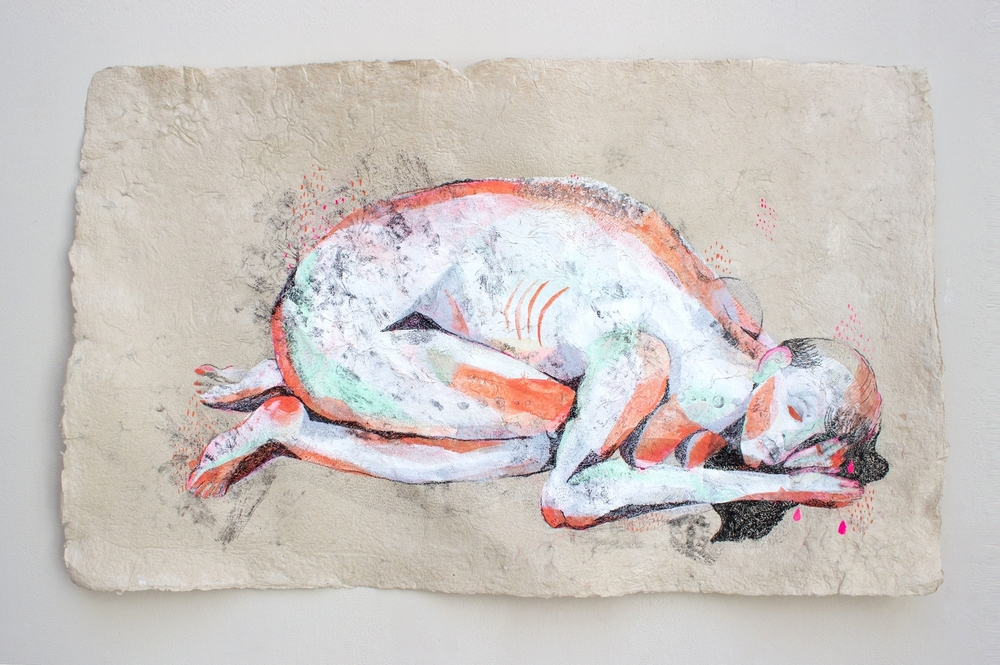 THE SLEEPING GIANT [Handmade flax paper, china marker, graphite, gouache, photolithographic transfer]