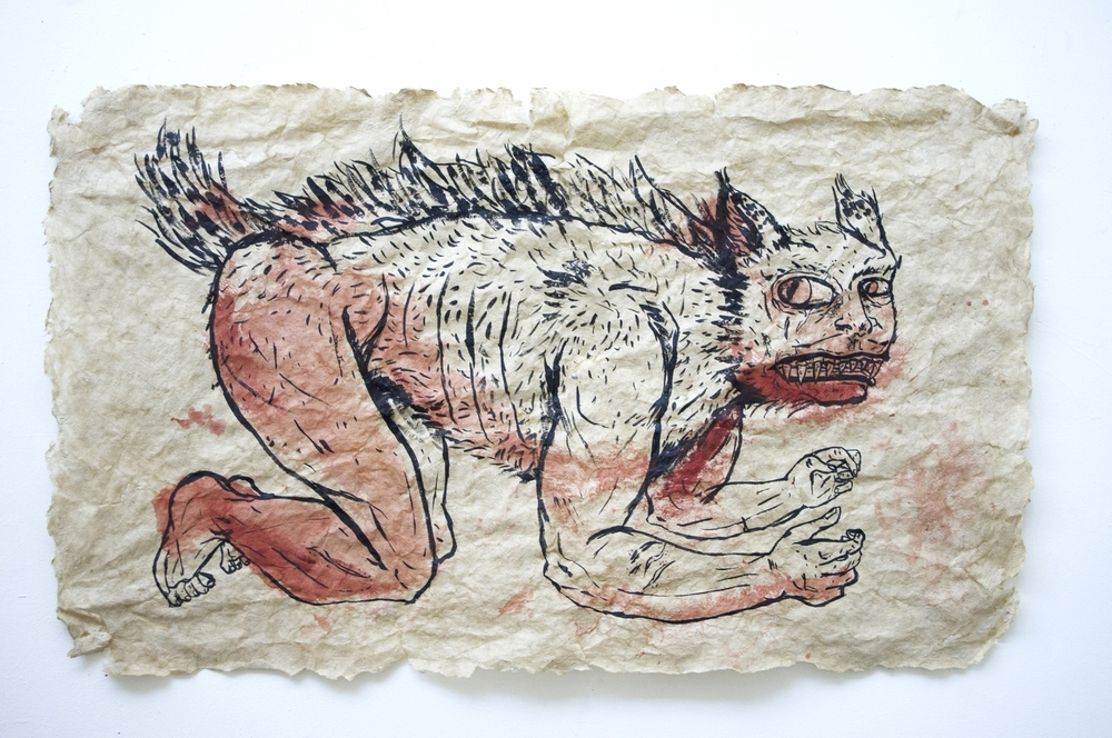 Slaked Beast [Handmade flax paper, pigment, ink]