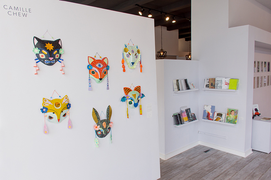 Chew's masks on display at Light Grey Art Lab