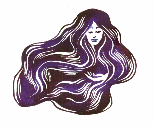 Hair and Sky Goddesses Woodcut Prints with irridescent pigment power accents.png