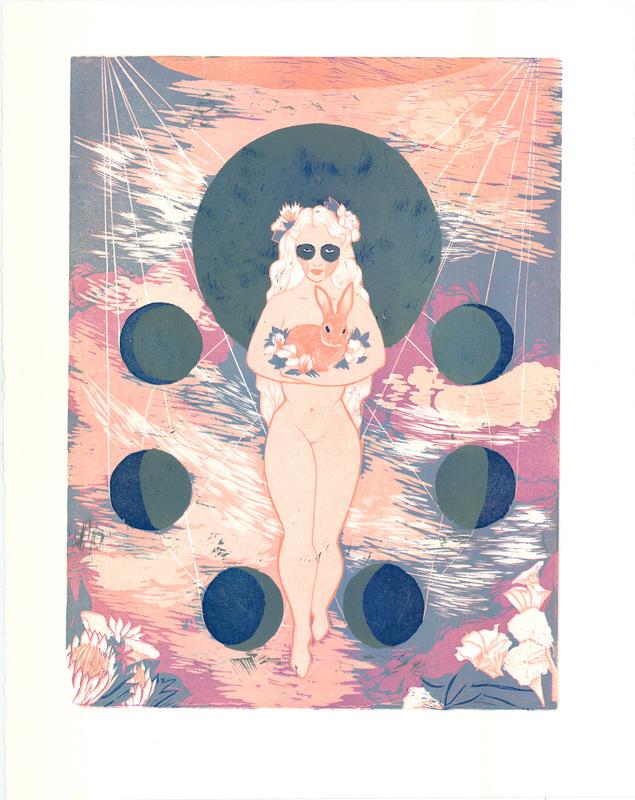 Tsukino Usagi, Japanese Moon Goddess 8-Layer Reduction Woodcut Print, EV.jpg