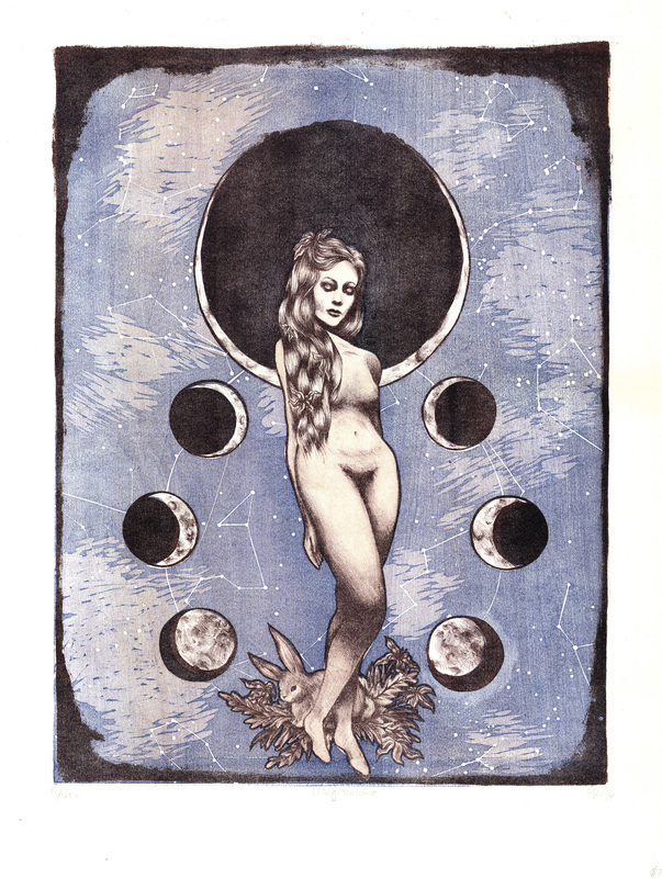 Usagi Tsukino, Japanese Moon Goddess 3-Layer Reduction Woodcut Print with Stone Lithographic Key.jpg