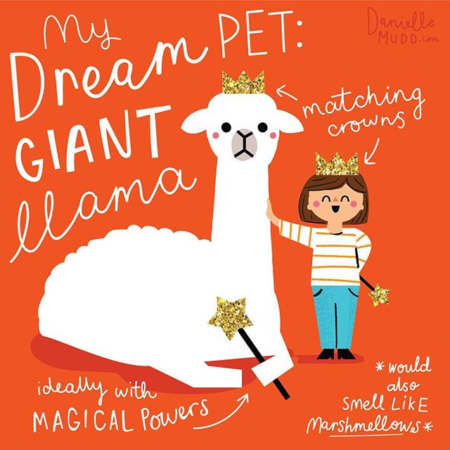 Just thinking about what my ideal pet would be... It would also be extra extra fluffy and be able to fly 🤪 #llamasofinstagram #kidlitart #kidsillustration #childrensbooks #illustrator #kidsdesigner #illustration #cute #petllama #childrensbookillustration