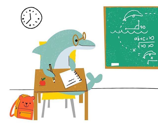 Did you know: Dolphins must spend their early years at dolphin school learning how to swim, jump and all other things dolphin, before they can get anywhere near the water! 📚✏️🤓🐬 #dolphinday #nationaldolphinday #dolphinsofinstagram #dolphins #kidsillustration #childrensillustrators #kidsbookillustration #cute #classroom