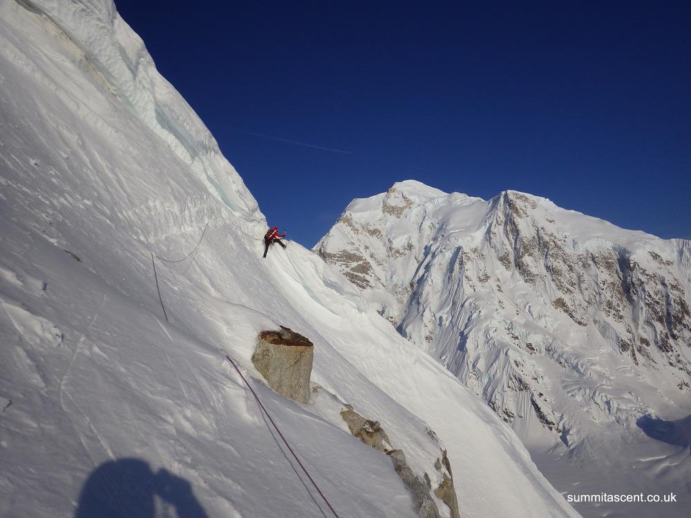 Climbing through the Cornice, SW Ridge Mount Frances, Central Alaskan Range