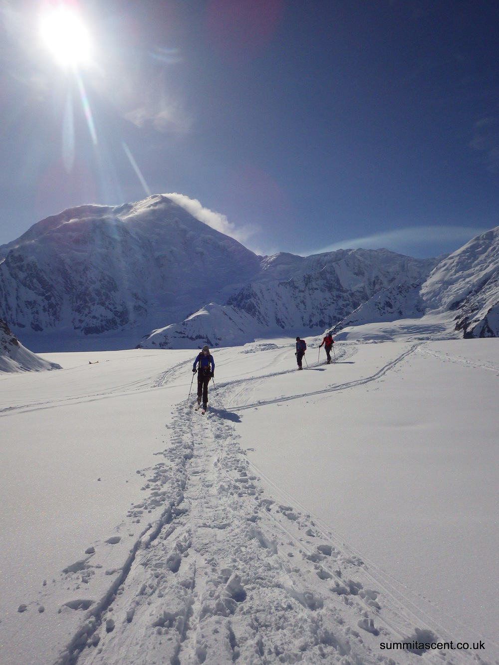 Skiing up the Kahiltna Glacier