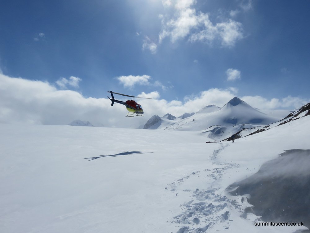Getting flown in to the Llewellyn Glacier