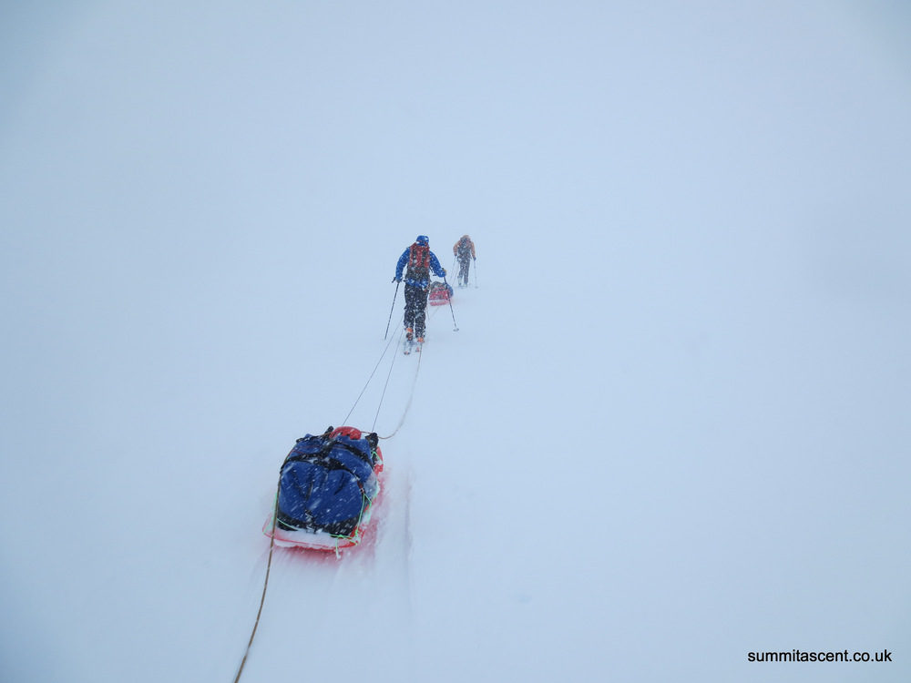 Pulling sleds in a whiteout