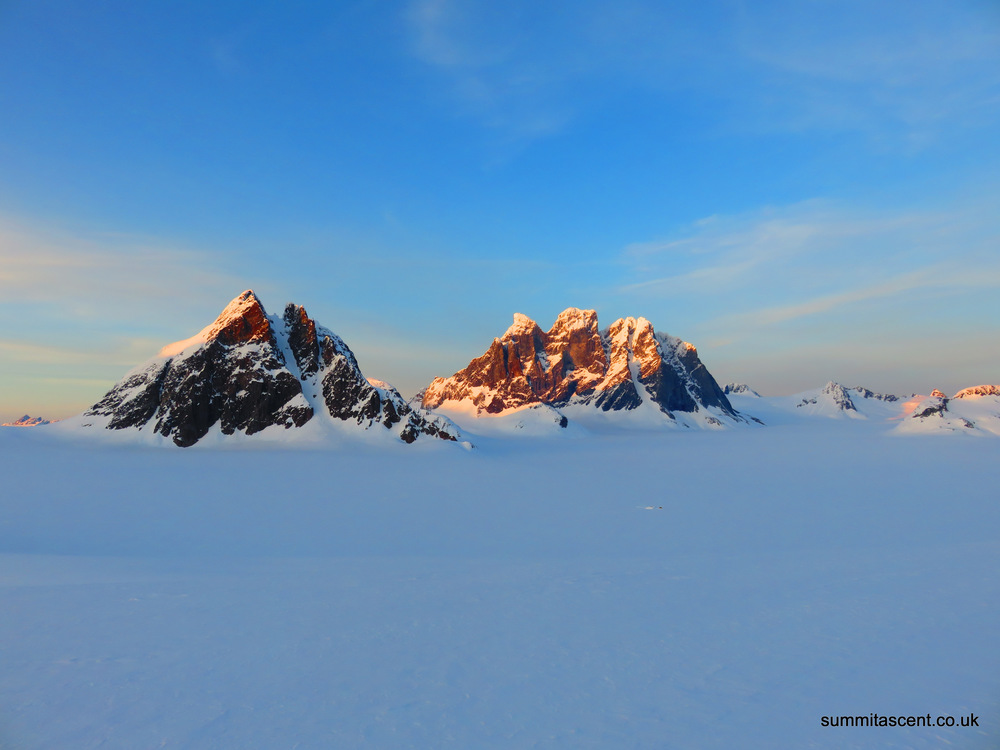 Devils Paw and the surrounding peaks. Note: our base camp is just visible on the glacier
