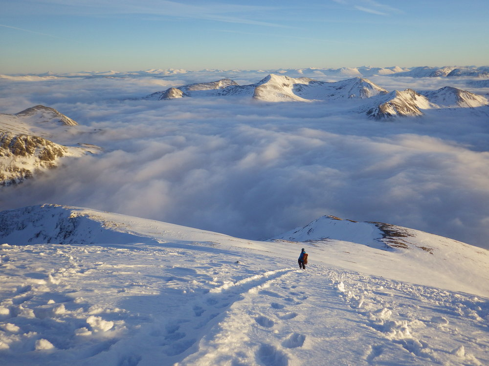 Descending off the summit of Ben Nevis after a brilliant winter day out